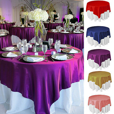 1pc Square Satin Tablecloth Table Cover For Banquet Wedding Party Home Decor