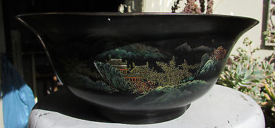 Stunning Vintage ? Chinese Large Lacquer Bowl Fish
