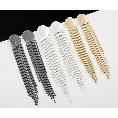 New Fashion Elegant Women Metal Jewelry Long Tassel Drop Dangle Stud Earrings