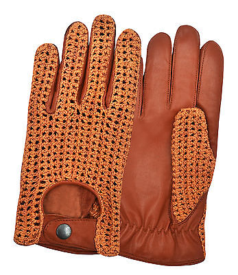 Real Sheep Leather Crochet Men's Driving Gloves Chauffeur Retro Classic Vintage