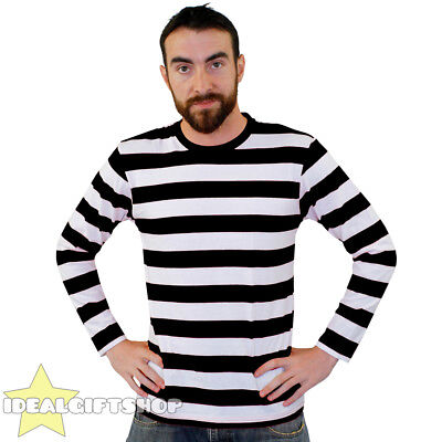 Striped T Shirt Top Black And White Fancy Dress Long Sleeve 100% Cotton S-Xxl