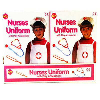 Childrens Girls Dress Up Nurse Uniform Outfit with Play Accessories