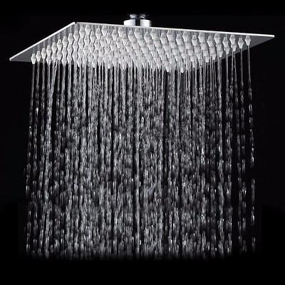 6/8/12'' Square Stainless Steel Rain Shower Head Rainfall Bathroom Top Sprayer