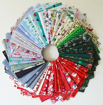 Christmas Mixed 100% Cotton Fabric Material Joblot Value Bundle Scraps Offcuts