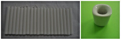 """20 White Mini 4"""" Chime Spell Candles + Ceramic Holder (Wicca Pagan Altar)"""
