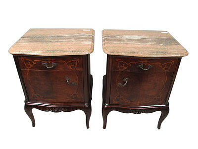 Great Pair of French Louis XV Nightstands Marble Tops - 11285