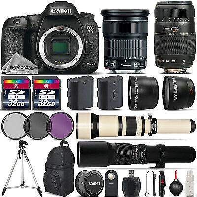 Canon EOS 7D Mark II DSLR Camera + 24-105mm IS STM + 70-300mm - 64GB Kit Bundle