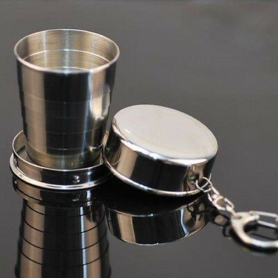 Steel Travel Telescopic Collapsible Shot Glass Emergency Pocket Cup GFY