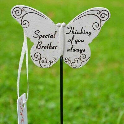 Thinking of Special Brother Butterfly Memorial Tribute Stick Graveside Plaque