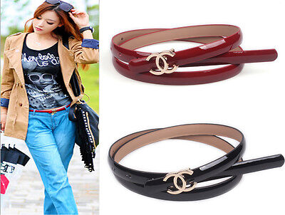 New Fashion Women Genuine Leather Metal Letter C Buckle Golden or silver Belt