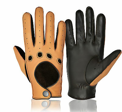 Real Leather Full Finger Driving Gloves Slim Fit Chauffeur Men's Dress Vintage