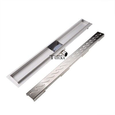 Floor Linear Shower Drain Wetroom Bathroom Channel Tile Stainless Steel 60Cm
