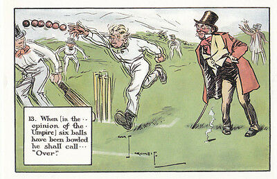 String Of Cricket Balls An Over Chas Crombie Rare Cricketer Comic Postcard