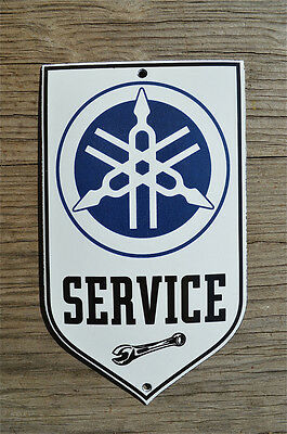 Superb heavy quality porcelain advertising sign Yamaha service garage plaque