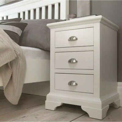 Georgian Painted White Furniture Small Wooden 3 Drawer Bedside Cabinet Table