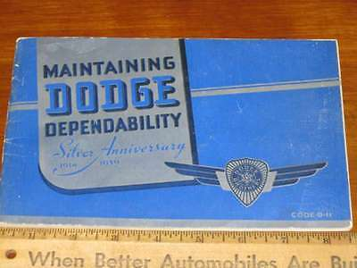 1939 DODGE Car Silver Anniversary Owners Manual