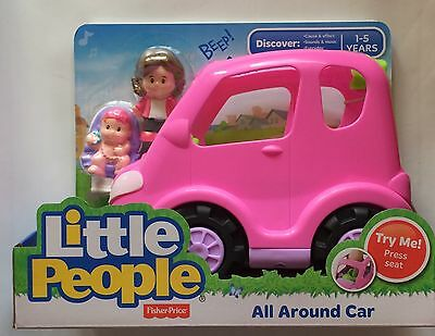 NIB Fisher-Price Little People All Around Car Pink Mom with Baby Figures