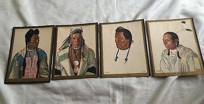 Lot 4 Vintage Great Northern Railway Winold Reiss Native American Prints