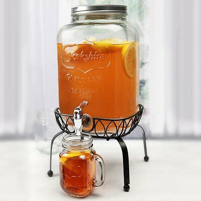 NEW Circleware Yorkshire 2 Gallon Glass Beverage Tea Dispenser with Metal Stand