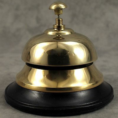 Solid Brass Hotel Front Desk Bell Sales Service Counter Bell On Wood Base