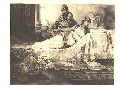 HAREM MUSLIM ARAB Woman NUBIAN SERVANT FANTASY Beautiful Old Antique Art Print