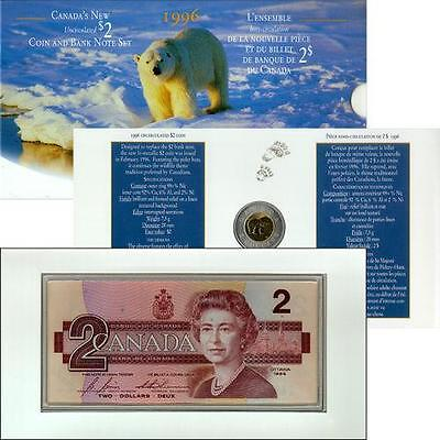 1996 Canadas New Uncirculated $2 Coin & Bank Note Set German Planchet