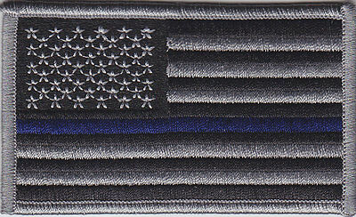 THIN BLUE LINE US United States FLAG Patch SUBDUED BLACK & GRAY (grey) police
