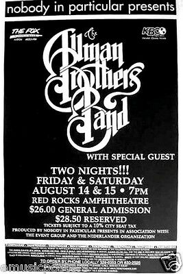 ALLMAN BROTHERS BAND 1998 DENVER CONCERT TOUR POSTER-Classic Southern Rock Music