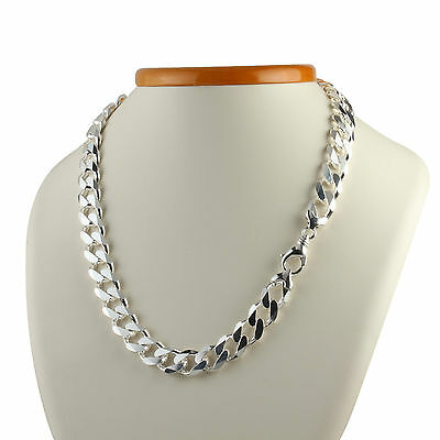 13Mm Wide Heavy Solid Sterling Silver Mens Curb Chain Necklace