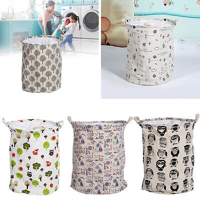 Cotton Linen Laundry Hamper Bag Washing Basket Bags Clothes Storage Pouch Home