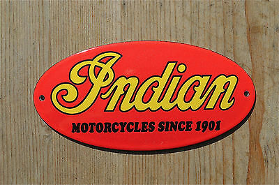 Quality Enamel Indian Motorcycles Sign Plaque Vintage Style Garage Wall Oval Ry