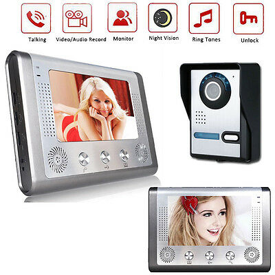 "7"" LCD Wired Video Doorbell Intercom Night Vision Home Security Camera Monitor"