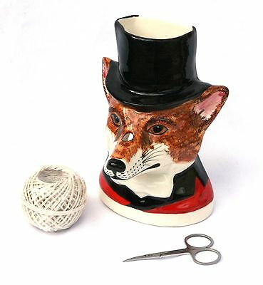 Hunting Fox Babbacombe Pottery China String Holder Hand Painted Hunting Gift