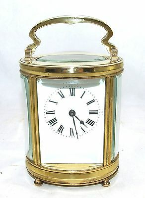ANtique Duverdry & Bloquel Brass OVAL Carriage Clock Timepiece & Key : WORKING