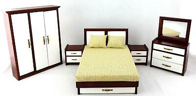 Melody Jane Dolls House Modern Mahogany White Double Bedroom Furniture Miniature