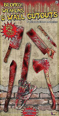 Bloody Weapon Cut Out Set, Halloween Party Accessory Prop/Room Decoration #CA