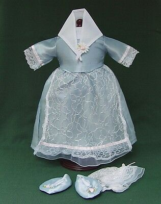 Retired AMERICAN GIRL ELIZABETH FELICITY BLUE TEA LESSON GOWN SHOES REPRODUCTION