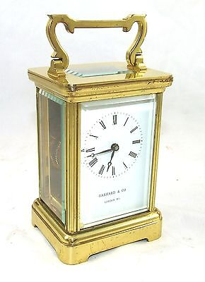 ENGLISH GARRARD & CO LONDON W1 Brass Carriage Mantel Clock & Key : Working (58)