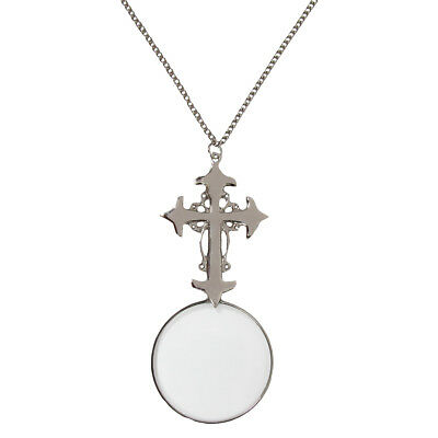 """New Silver Gothic Style Cross Necklace Magnifier 30"""" Chain&Glass Magnifying Lens"""