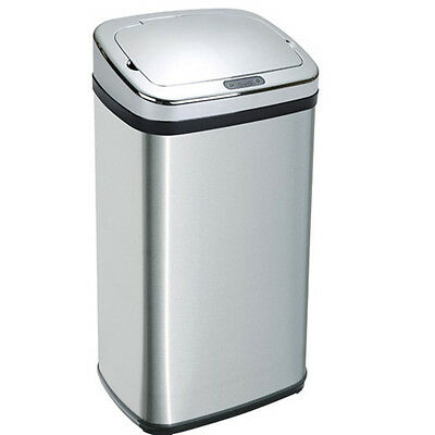 Square Stainless Steel Automatic Sensor Touchless Waste Dust Bin 50L