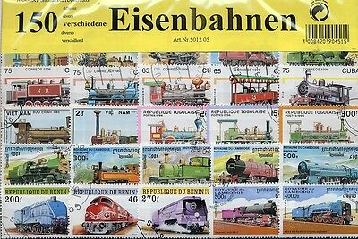 150 Briefmarken Eisenbahn,Bahn, Lokomotive, Train, Zug ,Trains, Locks, Zug,Train