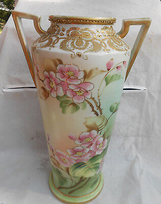 Antique Nippon Vase 12 Moriage Gold Hand Painted Apple Blossoms