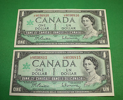 1967 $1 Bank note of Canada L/O 2x consecutive XF+