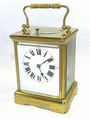 Grand FRENCH Striking Repeater Brass Carriage Mantel Clock : Strikes on a Gong