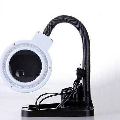 Magnifying Crafts Glass Desk Lamp With 5X 10X Magnifier With 40 LED Lighting AJ