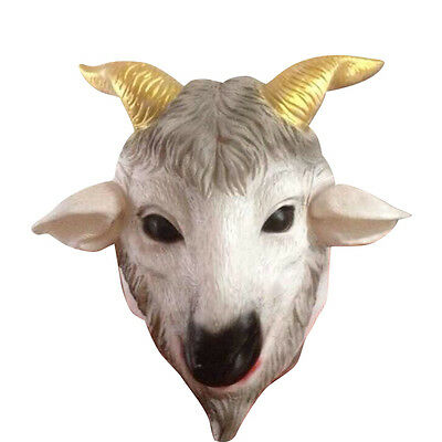 Latex Goat Head Mask Animal ZOO Cosplay Halloween Masquerade Party Costume Prop