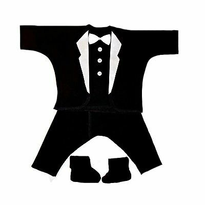 Baby Boy All Black Tuxedo Suit with White Lapels - 5 Preemie and Newborn Sizes