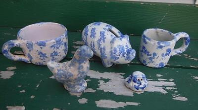 BYBEE POTTERY KY KENTUCKY BLUE SPONGEWARE COIN PIGGY BANK CHICKEN OWL MUGS 5pc