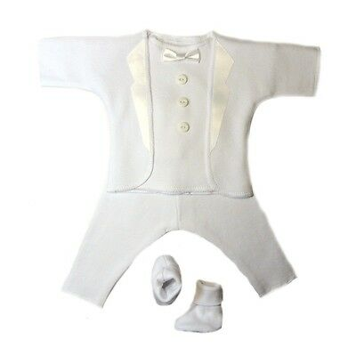 White Baby Boy Tuxedo Suit 5 Preemie and Newborn Sizes Perfect for Christening