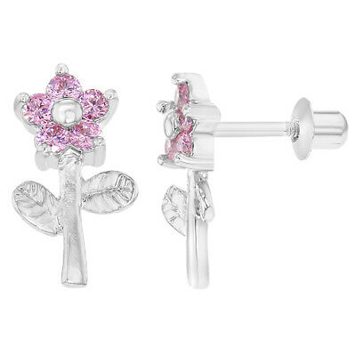 Rhodium Plated Pink CZ Flower Screw Backs Girls Kids Earrings